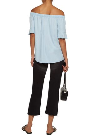 W118 by WALTER BAKER Penny off-the-shoulder ruffled washed-chambray top