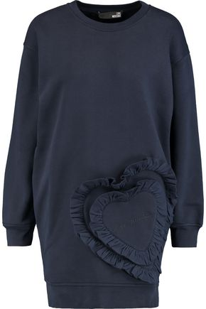 LOVE MOSCHINO Ruffled cotton-jersey sweatshirt