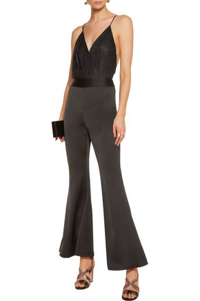 ALICE + OLIVIA Leanna corded lace and crepe bodysuit