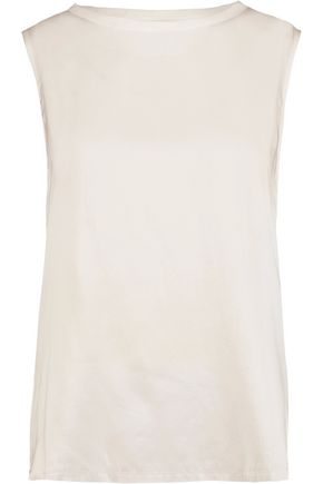 MAJESTIC Paneled washed-silk and linen top