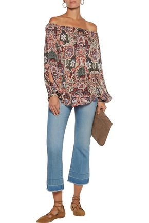 HAUTE HIPPIE Off-the-shoulder cutout printed silk crepe de chine blouse