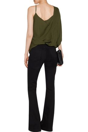 HAUTE HIPPIE Asymmetric wrap-effect silk crepe de chine top