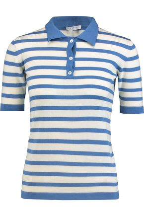 VIVETTA Striped cotton and wool-blend polo top