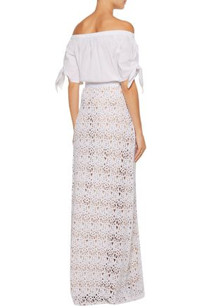 MIGUELINA Mirabelle cotton guipure lace maxi skirt