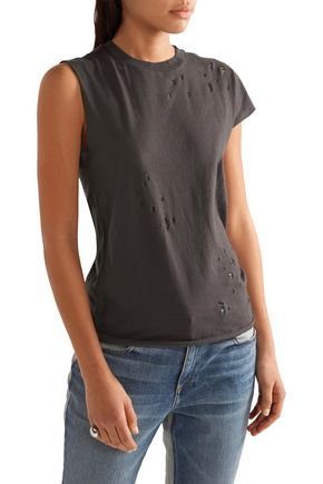 R13 Asymmetric distressed cotton and cashmere-blend T-shirt