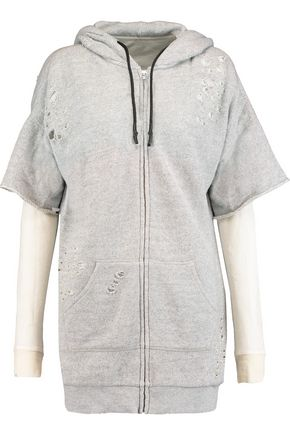 R13 Layered distressed cotton-jersey hooded sweatshirt