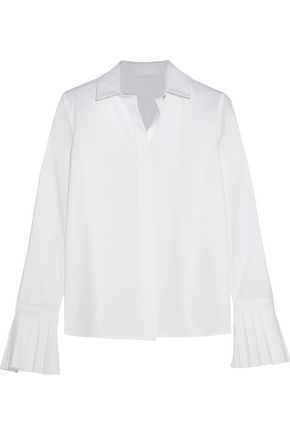 CO Pleated cotton-poplin shirt