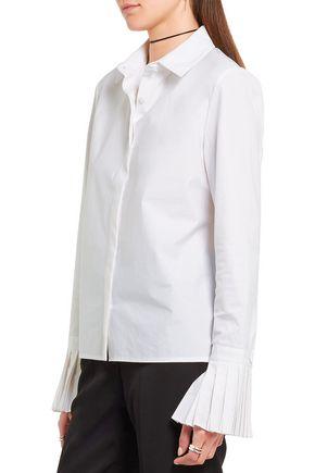 CO Pleated cotton-poplin shirt