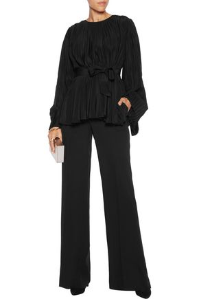 CO Belted pleated silk-crepe top