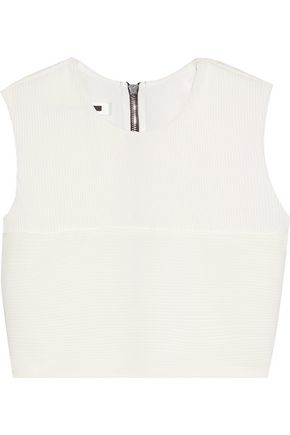 McQ Alexander McQueen Cropped plissé-georgette top
