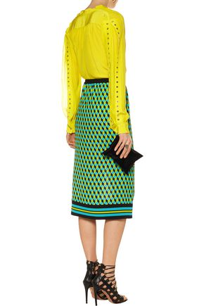 ROBERTO CAVALLI Eyelet-embellished silk blouse