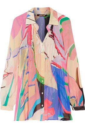 ROBERTO CAVALLI Pintucked printed silk-chiffon shirt