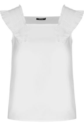 RAOUL Queen Annes ruffled stretch cotton-blend top