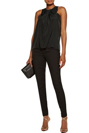 RAOUL Bow-embellished pleated crepe top
