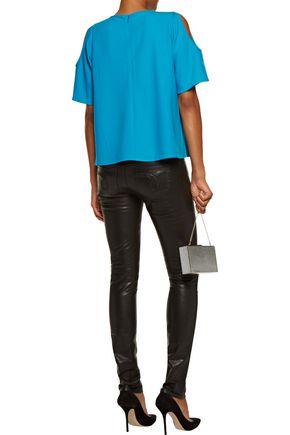 RAOUL Cold-shoulder cutout crepe blouse