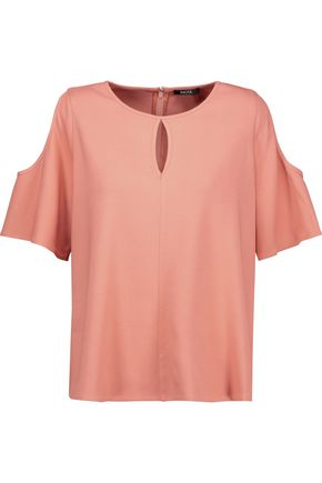 RAOUL Cold-shoulder cutout crepe blouse