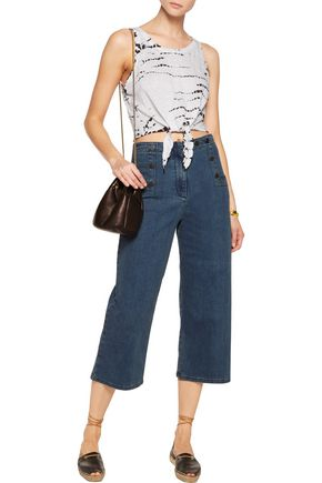 ALICE + OLIVIA Jacinda knotted cropped linen top