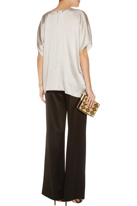 Nola draped washed stretch-silk top   ALICE + OLIVIA   Sale up to 70% off    THE OUTNET