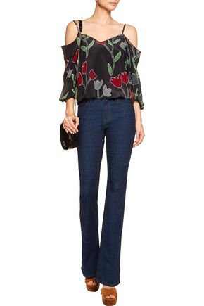 ALICE + OLIVIA Agatha cold-shoulder printed silk top