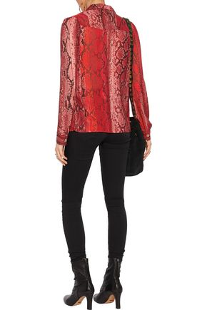 JUST CAVALLI Snake-print voile shirt