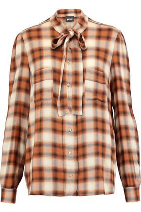 JUST CAVALLI Pussy-bow plaid gauze shirt