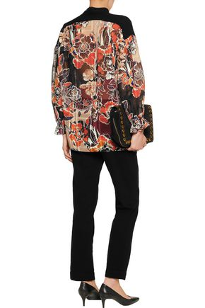 JUST CAVALLI Pussy-bow floral-print cotton and silk-blend chiffon blouse