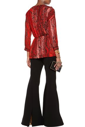 JUST CAVALLI Ruffled snake-print chiffon wrap blouse
