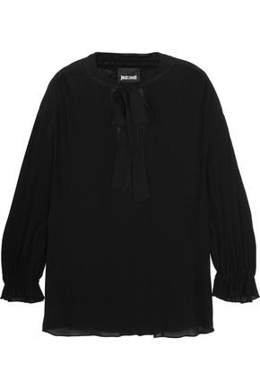 JUST CAVALLI Pussy-bow chiffon-trimmed crinkled-georgette blouse
