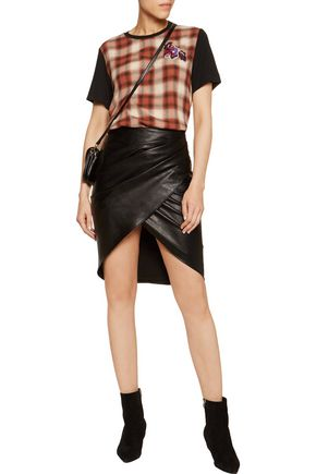 JUST CAVALLI Appliquéd checked wool-twill and stretch-jersey T-shirt