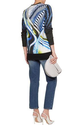JUST CAVALLI Printed cotton-blend jersey top