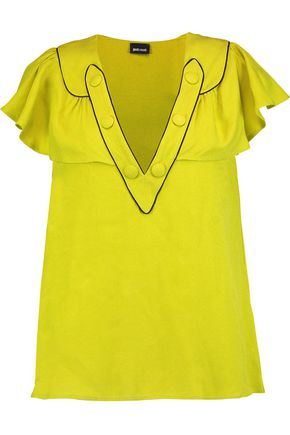 JUST CAVALLI Ruffled crepe top