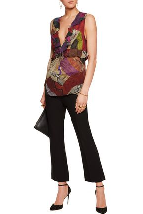 JUST CAVALLI Ruffle-trimmed printed chiffon top