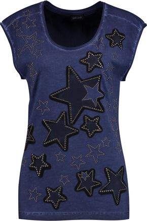 JUST CAVALLI Studded printed cotton-jersey top