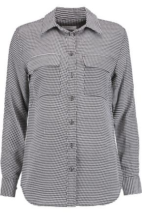 EQUIPMENT FEMME Houndstooth washed-silk shirt