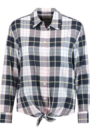 EQUIPMENT FEMME Daddy tied checked cotton shirt