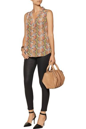 EQUIPMENT Adalyn snake-print washed-silk top