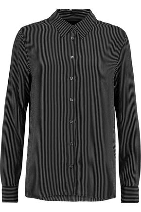 EQUIPMENT Shiloh pinstriped washed-silk shirt