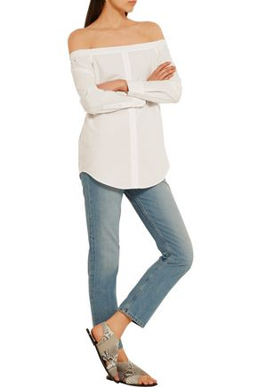 EQUIPMENT Gretchen off-the-shoulder cotton-poplin top
