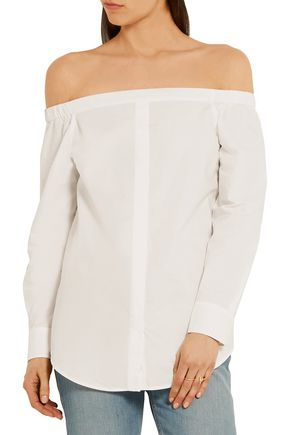 EQUIPMENT FEMME Gretchen off-the-shoulder cotton-poplin top
