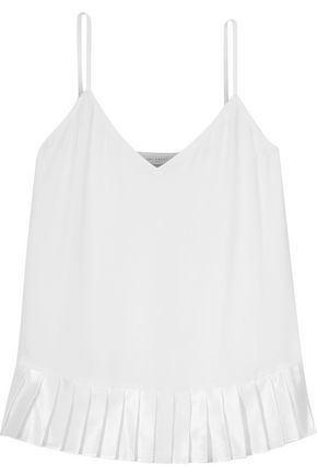 EQUIPMENT Layla pleated washed-silk and silk-blend satin camisole