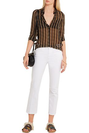 M.I.H JEANS Evelyn printed silk-chiffon shirt