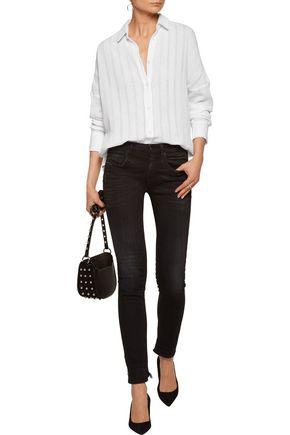 IRO Amelie open knit-trimmed cotton-gauze shirt