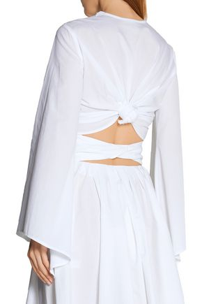 ROSIE ASSOULIN Knotted cropped cotton-poplin top