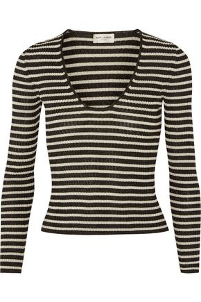 SAINT LAURENT Striped knitted top