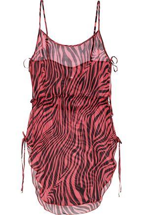 AGENT PROVOCATEUR Tori zebra-print silk-chiffon coverup
