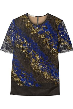 ANTONIO BERARDI Metallic flocked lace and tulle top