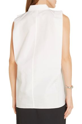 ... MAISON MARGIELA Belted cotton and silk-blend poplin top ...