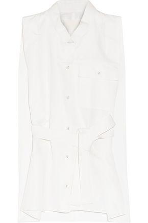 MAISON MARGIELA Belted cotton and silk-blend poplin top