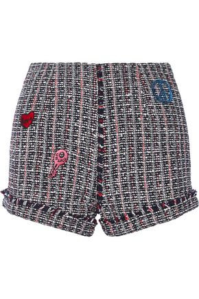 SJYP Embroidered tweed shorts