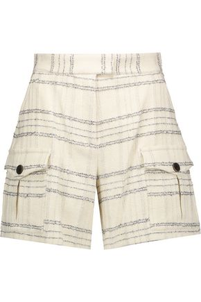 MSGM Metallic checked bouclé-tweed shorts